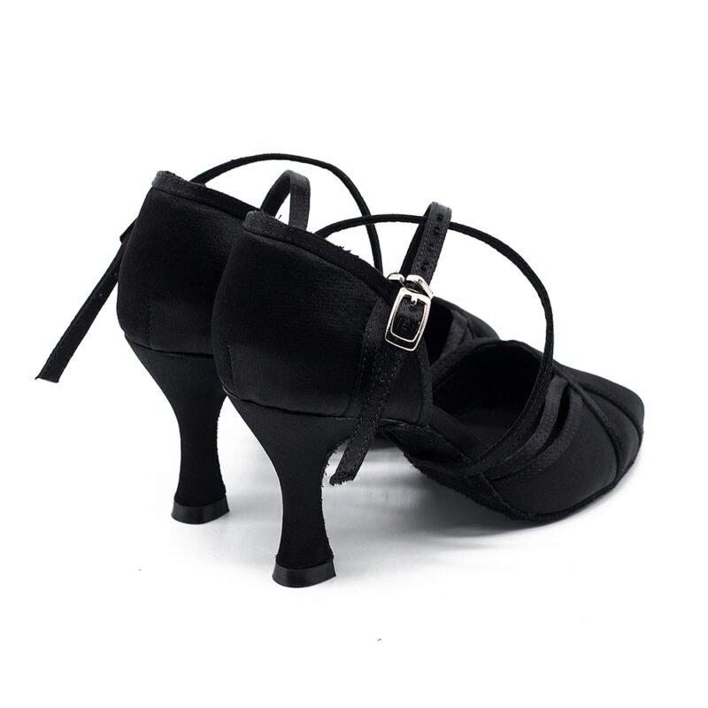 Gesloten Teen Dansschoenen-Zwarte salsa schoenen dames salsaschoenen-kizomba-Dansschoenen-bachata-Dansschoenen paar acterkant